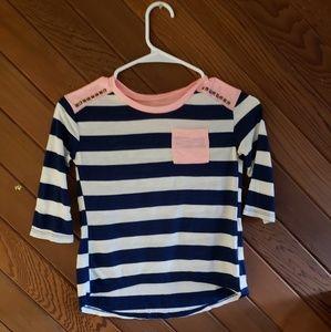 Arizona Co. 3/4 sleeve navy and pink tshirt